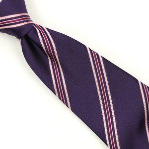 Kiton Napoli Silk Neck Tie Purple Striped Italy